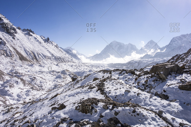 Mountains covered in snow, Everest Region, Nepal