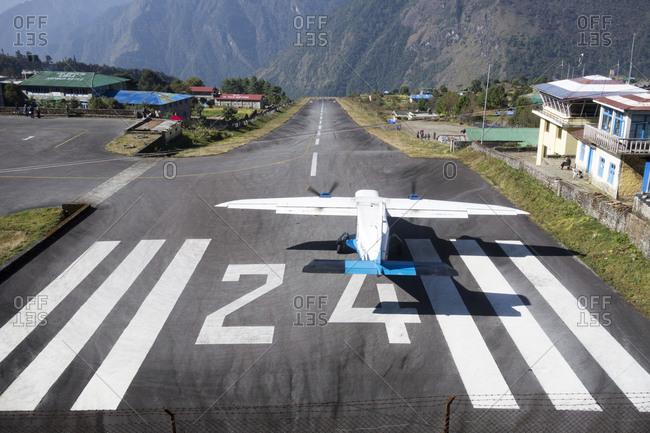 Chaurikharka, Nepal - November 5, 2013: Lukla Airport, Nepal