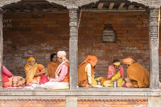 Kathmandu, Nepal - May 10, 2012: Pilgrims, Pashupatinath Temple, Nepal