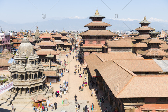 Kathmandu, Nepal - June 2, 2012: Elevated view of Bhaktapur Temple, Nepal