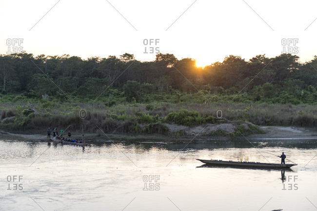Tour canoes on river, Chitwan National Park, Nepal