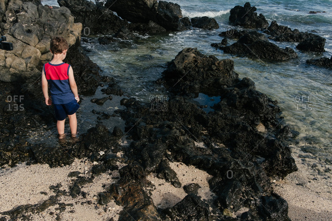 Young boy wading in tide pool on rocky beach in Hawaii