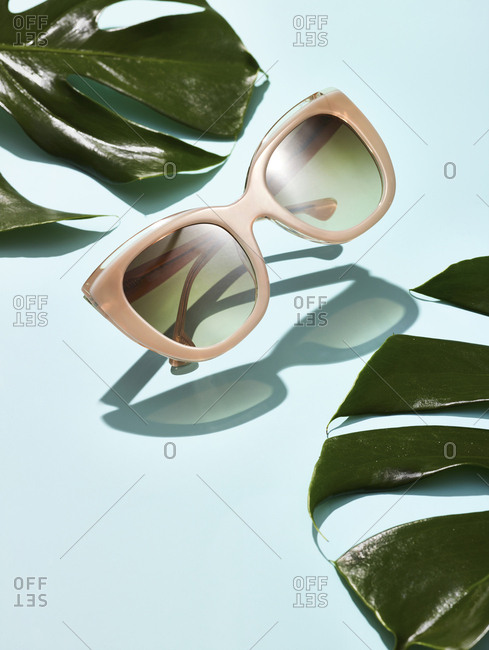 Studio still life of pair of sunglasses floating in mid air arranged with leaves