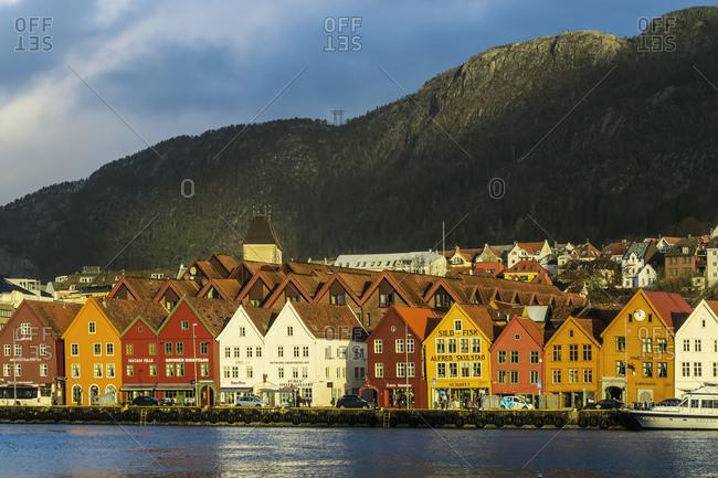 November 21, 2015: Hanseatic wooden waterfront commercial buildings of the Bryggen (the dock), UNESCO World Heritage Site, Bergen, Hordaland, Norway, Scandinavia, Europe