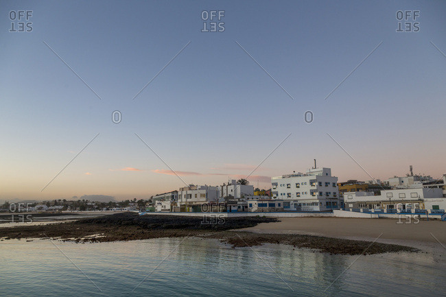 Dawn light over Corralejo on the island of Fuerteventura, Canary Islands, Spain, Atlantic, Europe