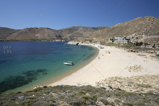 June 10, 2017: Vagia beach with view of Coco Mat Hotel on south coast, Serifos, Cyclades, Aegean Sea, Greek Islands, Greece, Europe