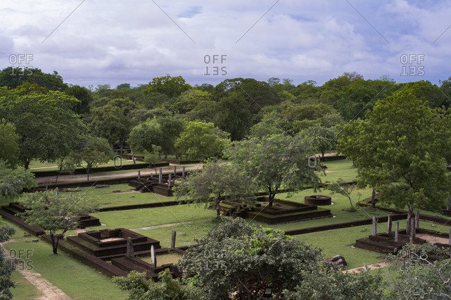 High view looking over Polonnaruwa, UNESCO World Heritage Site, Sri Lanka, Asia