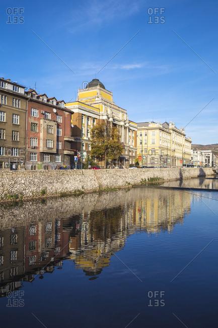 October 20, 2017: Buildings of Bascarsija (The Old Quarter), on the banks of the Miljacka River, Sarajevo, Bosnia and Herzegovina, Europe