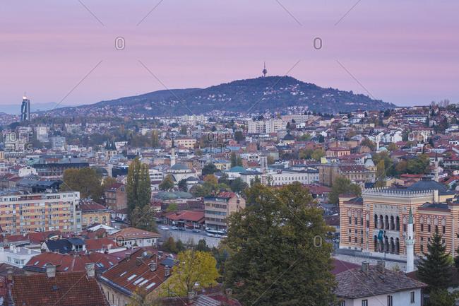 October 21, 2017: View of City looking towards City Hall, Sarajevo, Bosnia and Herzegovina, Europe