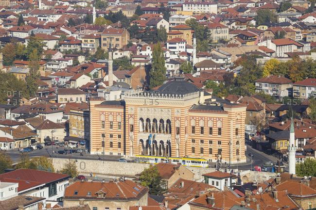 October 20, 2017: View of City looking towards City Hall, Sarajevo, Bosnia and Herzegovina, Europe