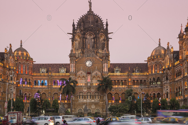 October 21, 2016: Chhatrapati Shivaji Terminus, UNESCO World Heritage Site, Mumbai, Maharashtra, India, Asia