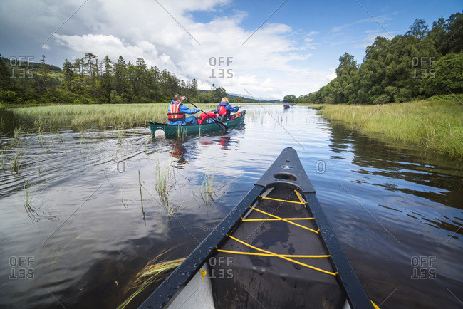 August 8, 2017: Canoeing Loch Oich, along the Caledonian Canal, near Fort William, Scottish Highlands, Scotland, United Kingdom, Europe