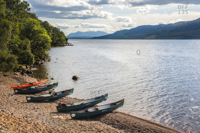 August 9, 2017: Canoeing Loch Ness section of the Caledonian Canal, near Fort Augustus, Scottish Highlands, Scotland, United Kingdom, Europe