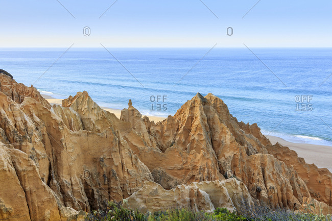 Sandstone cliffs in Carvalhal on the Alentejo coast, Portugal, Europe
