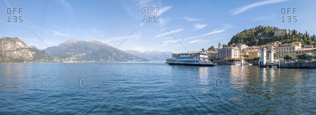 September 22, 2017: Panoramic aerial view of ferry boat at Bellagio on the shore of Lake Como, Province of Como, Lombardy, Italian Lakes, Italy, Europe (Drone)
