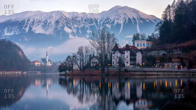 Lake Bled at sunrise, Bled, Slovenia, Europe
