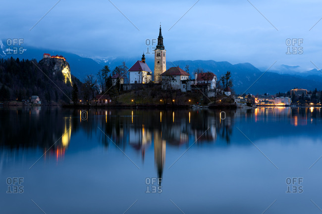The Church of the Assumption pre-dawn, Lake Bled, Slovenia, Europe