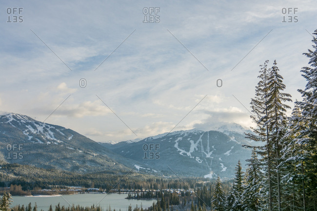 View of Whistler and Blackcomb mountains and Green Lake from Rainbow, British Columbia, Canada, North America