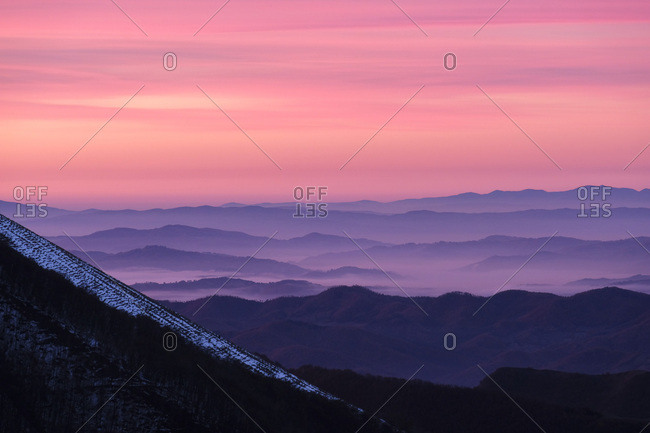Monte Catria, Apennines, ridges at sunrise, Umbria, Italy, Europe