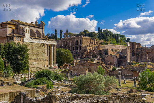 Panoramic view of surviving structures and ancient ruins in the Roman Forum, UNESCO World Heritage Site, Rome, Lazio, Italy, Europe