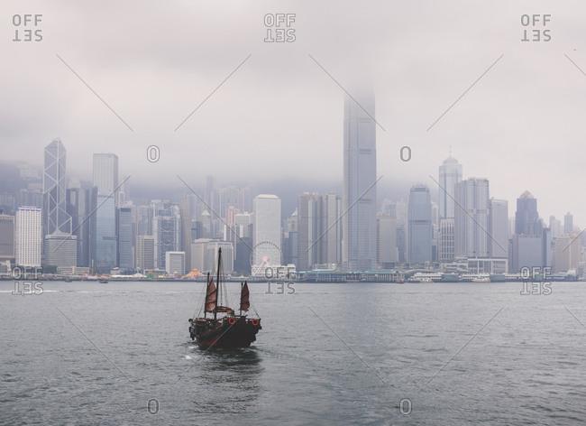 January 19, 2018: Ferry boat crossing the Victoria Harbor from Tsin Sha Tsui to Central Hong Kong, Hong Kong, China, Asia