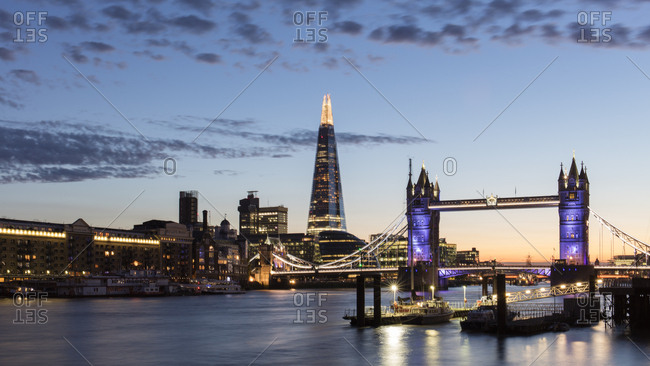 February 5, 2018: Tower Bridge and The Shard at sunset, taken from Wapping, London, England, United Kingdom, Europe