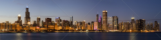 February 5, 2018: Panoramic of Chicago Skyline at sunset, Chicago, Illinois, United States of America, North America