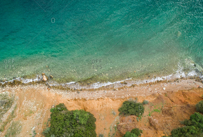 Aerial view of the empty beach at Fokida, Greece