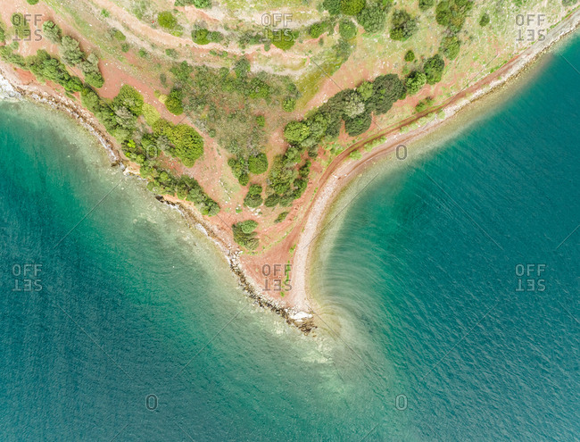 Aerial view of the coastline horn and beautiful sea in Fokida, Greece