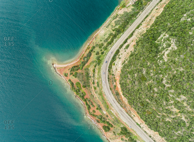 Aerial view of the beautiful coastline and sea in Fokida, Greece