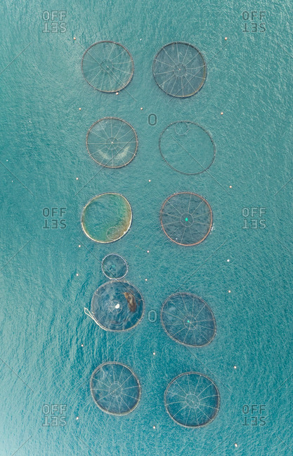 Aerial view of fish farm pools in the beautiful Mediterranean sea, Greece