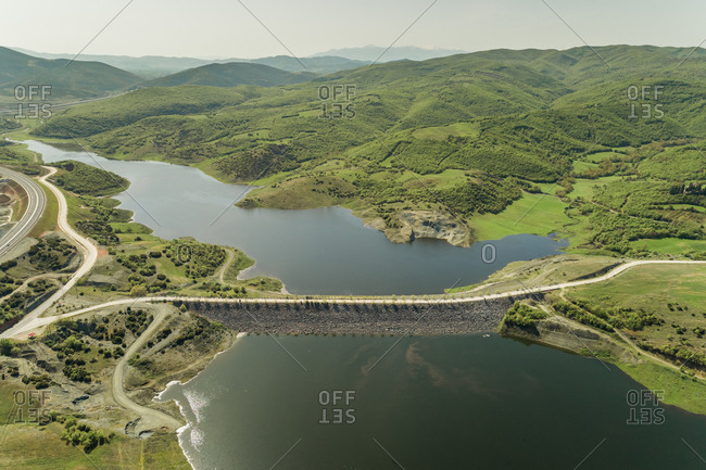 Aerial view of empty road on the dam in Karditsa region, Greece