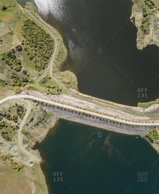Aerial view of empty road on dam in Karditsa region, Greece