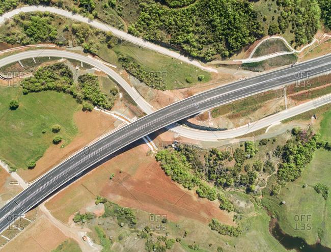 Aerial view of empty asphalt road in Karditsa region, Greece