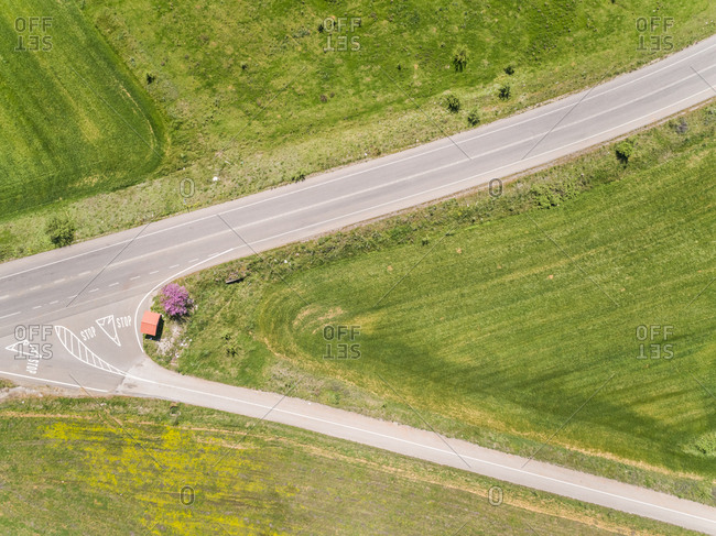 Aerial view of crossroad intersection in the countryside, Greece