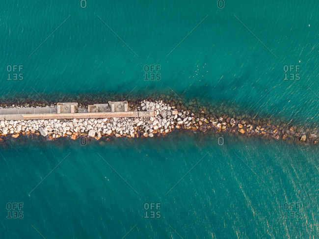 Aerial view of concrete dock in Patras, Greece