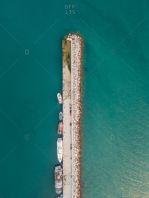January 27, 2018: Aerial view of small fishing boats tied to dock in Patras, Greece
