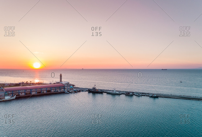 Aerial view of beautiful sunset at marina in Patras, Greece