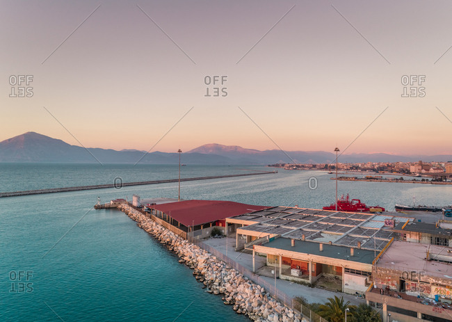 January 27, 2018: Aerial view of beautiful sunset at harbor in Patras, Greece