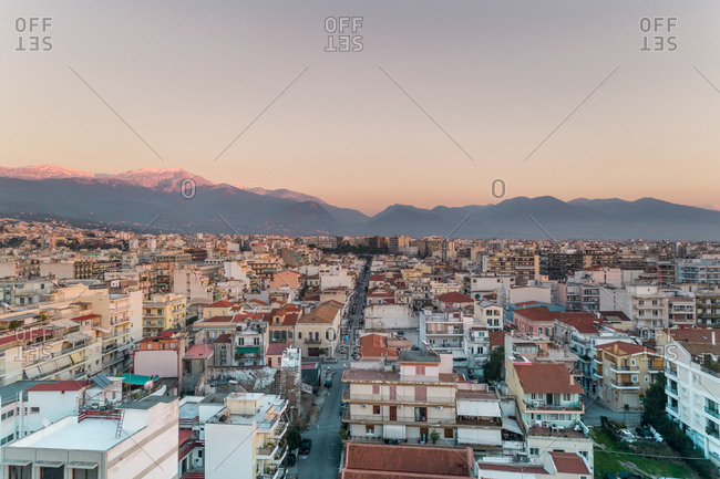 January 27, 2018: Aerial view of beautiful sunset at Patras in Greece