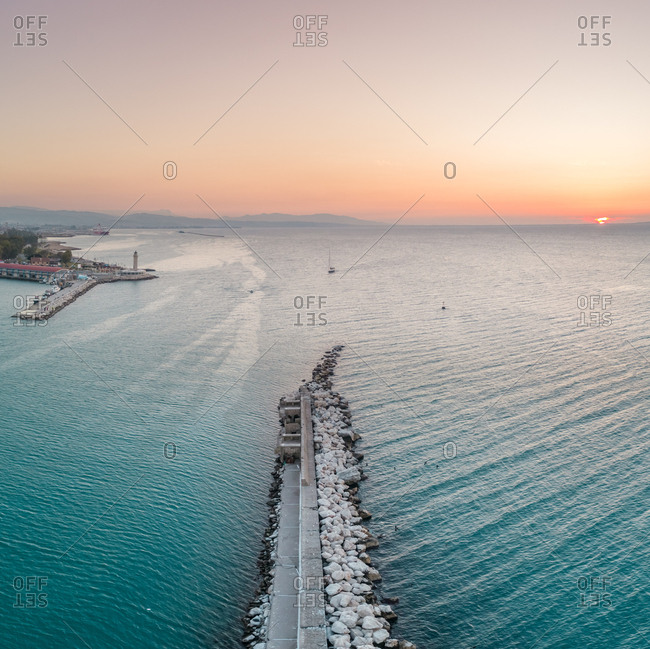 January 27, 2018: Aerial view of beautiful sunset at marina in Patras, Greece