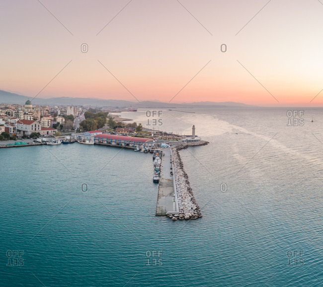 January 27, 2018: Panoramic view of beautiful sunset at marina in Patras, Greece
