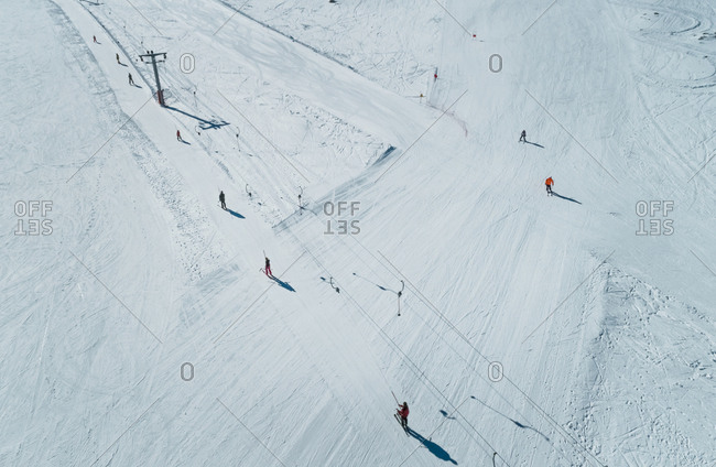 Aerial view of people on ski lift at skiing resort at Mount Erymanthos in Greece