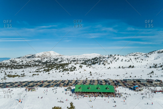 January 28, 2018: Aerial view of ski resort located at beautiful mountain range of Erymanthos, Greece