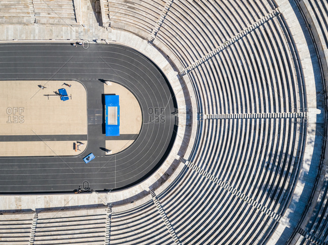 ATHENS, GREECE- MARCH 10, 2018: Aerial view of sports tribunes at Panathenaic stadium in Athens, Greece