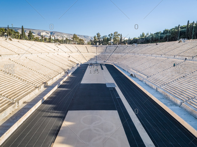 ATHENS, GREECE- MARCH 10, 2018: Aerial view of Panathenaic stadium in Athens, Greece