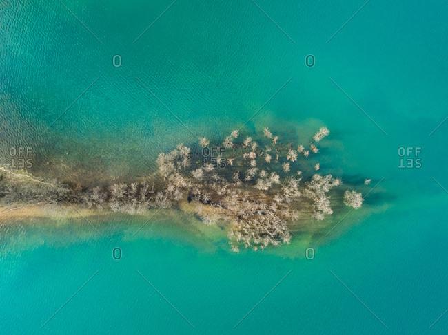 Aerial view of growing vegetation in beautiful lake Plastira at Karditsa, Greece