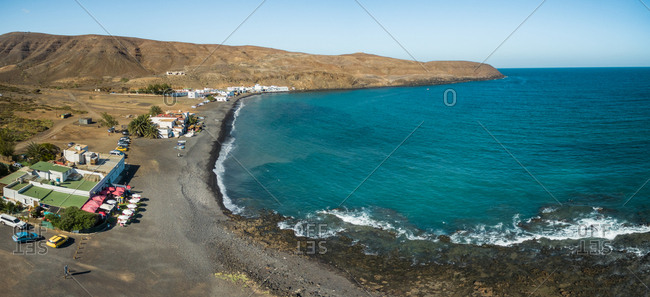 February 18, 2018: Aerial panoramic view of Pozo Negro village in Fuerteventura, Canary Islands, Spain.