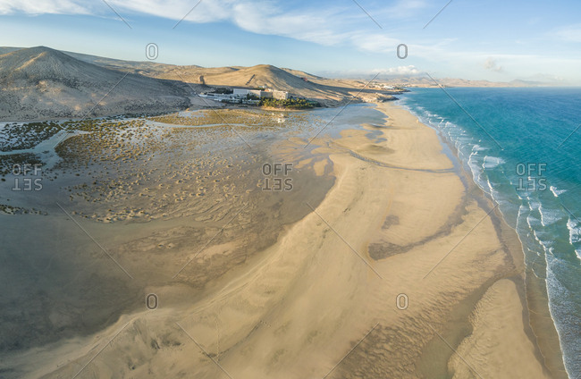 Aerial panoramic view of Sotavento lagoon beach in Fuerteventura, Canary Islands.