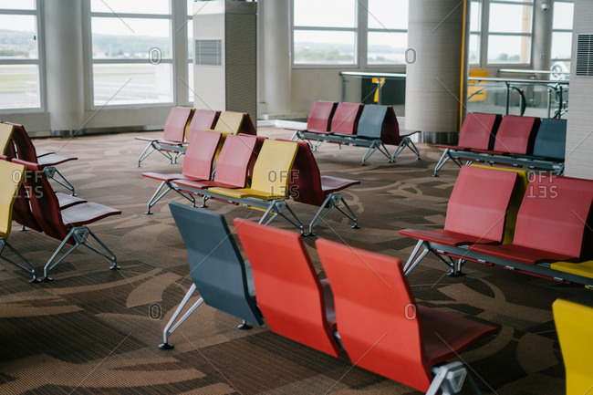 Primary colored seats in an airport terminal
